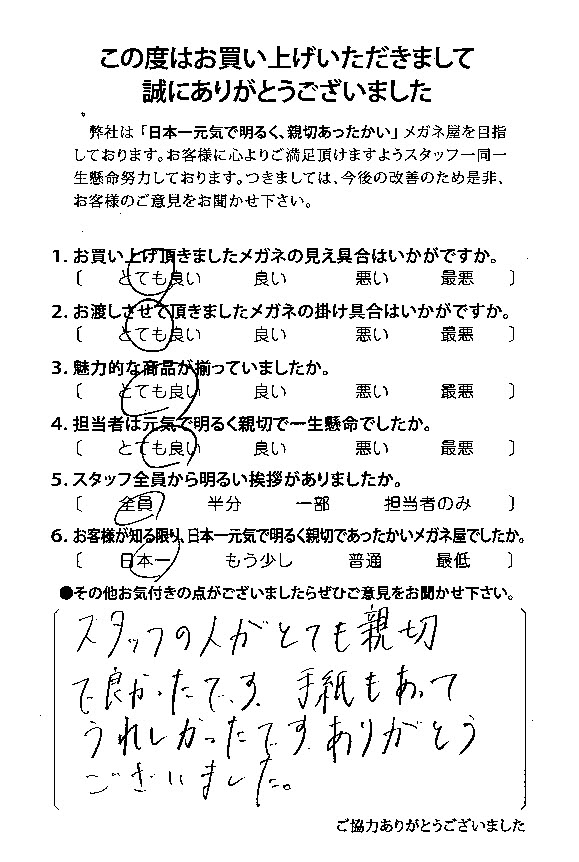 スタッフの人がとても親切で良かったです。手紙もあって嬉しかったです。ありがとうございました。